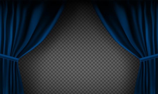 Realistisch kleurrijk blauw fluwelen gordijn gevouwen op een transparante achtergrond. optiegordijn thuis in de bioscoop.
