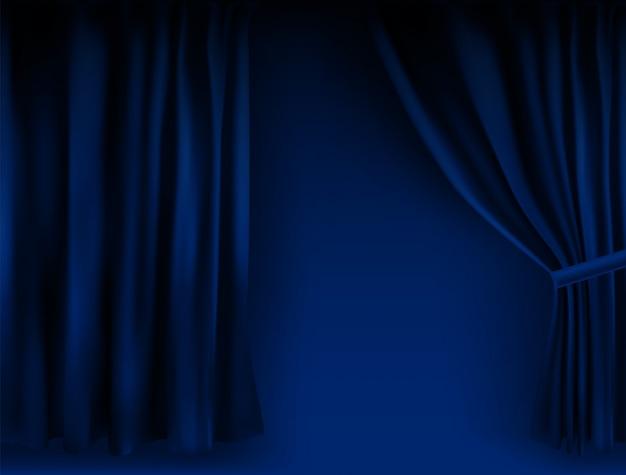 Realistisch kleurrijk blauw fluwelen gordijn gevouwen. optiegordijn thuis in de bioscoop. illustratie.
