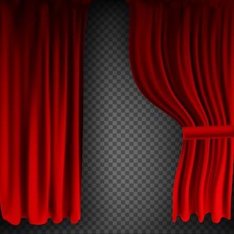 Realistisch kleurrijk rood fluwelen gordijn gevouwen op een transparante achtergrond. optiegordijn thuis in de bioscoop. illustratie.