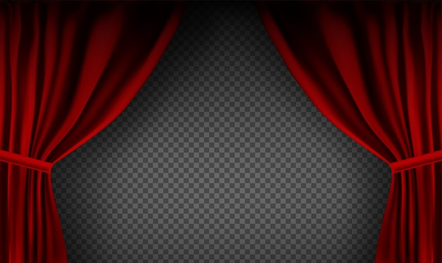 Realistisch kleurrijk rood fluwelen gordijn gevouwen op een transparante achtergrond. optiegordijn thuis in de bioscoop.