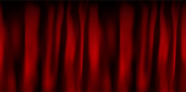 Realistisch kleurrijk rood fluwelen gordijn gevouwen. optiegordijn thuis in de bioscoop. illustratie.