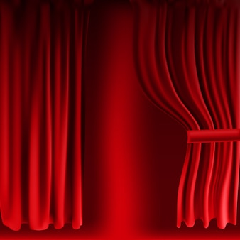 Realistisch kleurrijk rood fluwelen gordijn gevouwen. optiegordijn thuis in de bioscoop. vector illustratie