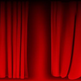 Realistisch kleurrijk rood fluwelen gordijn gevouwen. optiegordijn thuis in de bioscoop