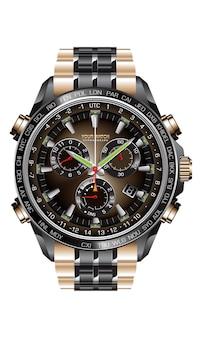Realistisch klokhorloge chronograaf zwart staal koper