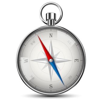 Realistisch kompas dat op wit wordt geïsoleerd