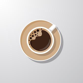 Realistisch kopje koffie bovenaanzicht