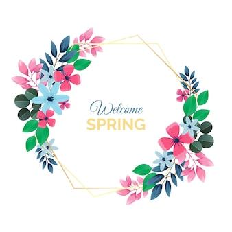 Realistisch lente bloemenframe-thema
