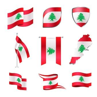 Realistisch libanese vlaggenpakket