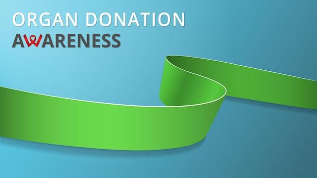 Realistisch limoengroen lint. bewustzijnsorgaan donatie maand poster. vector illustratie. wereld orgaandonatie dag solidariteit concept. symbool van kalkziekte, mitochondriale ziekten, dwerggroei.