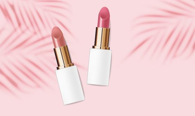 Realistisch lippenstiftpakket, make-upbanner, zomercosmetica-achtergrond, verpakking
