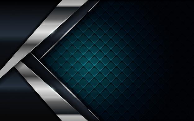 Realistisch marineblauw gecombineerd met zilveren en zwarte lijn gestructureerde achtergrond