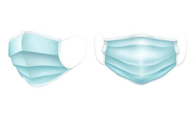 Realistisch medisch chirurgisch masker in lichtblauwe kleur