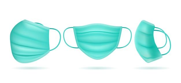 Realistisch medisch masker verschillende hoeken
