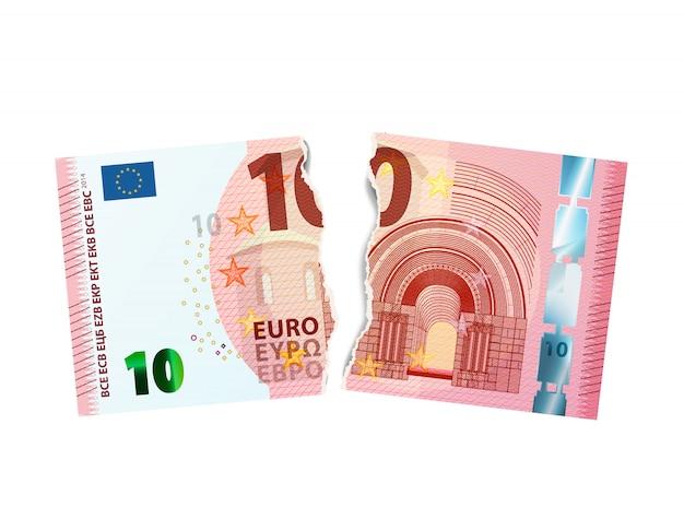 Realistisch model van bankbiljet van tien euro dat in twee stukken op wit wordt gescheurd