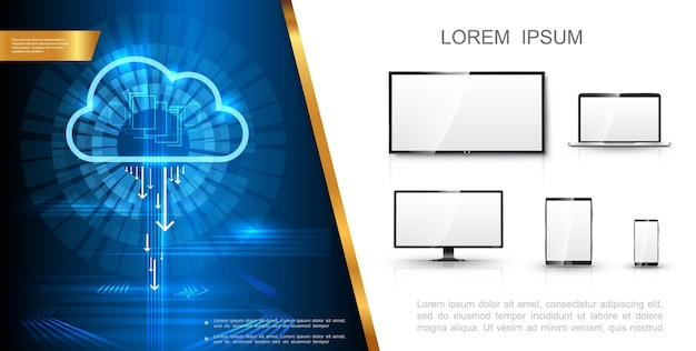Realistisch modern technologieconcept met digitale cloudopslag tv-scherm laptop monitortelefoon en tablet