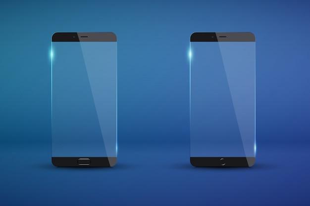 Realistisch modern transparant smartphonemodel