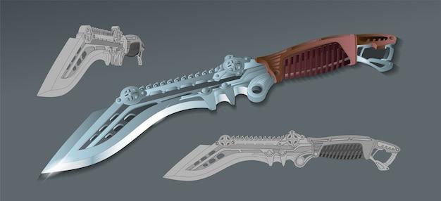 Realistisch mooie fantastische militaire dolk. tactisch mes. koude ruimtewapens van de toekomst. technologisch geavanceerd mes. geïsoleerd.