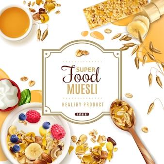 Realistisch muesli-superfoodframe met sierlijke tekst beschikbaar voor bewerking en bovenaanzicht van de tabel