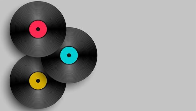 Realistisch muziek vinyl achtergrondontwerp