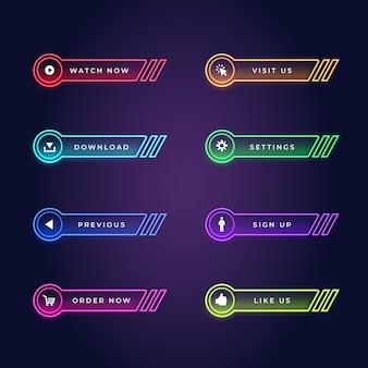 Realistisch neon call-to-action-knoppenpakket