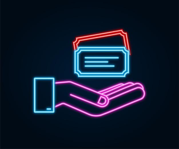 Realistisch neon-showkaartje dat over handen hangt. oude premium bioscoop toegangskaarten.