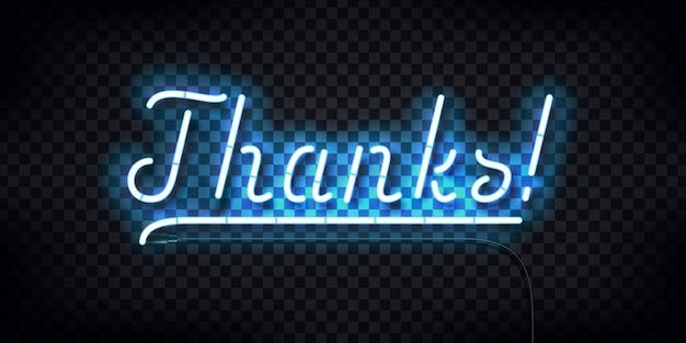 Realistisch neonteken van bedankt typografie-logo voor sjabloondecoratie en lay-outbedekking op de transparante achtergrond.