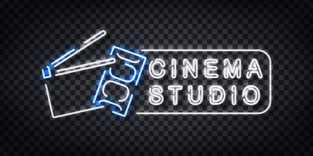 Realistisch neonteken van cinema studio-logo voor sjabloondecoratie en uitnodigingsbedekking op de transparante achtergrond.