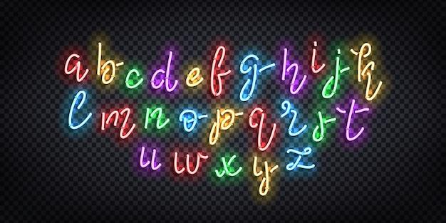 Realistisch neonteken van cursief lettertype voor sjabloondecoratie en bedekking op de transparante achtergrond.