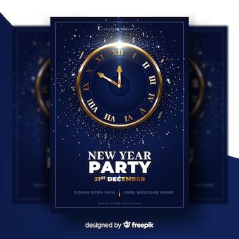 Realistisch nieuw jaar 2020 feest poster sjabloon