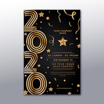 Realistisch nieuw jaar 2020 poster sjabloon