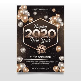 Realistisch nieuw jaar 2020 sjabloon folder