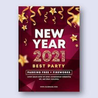 Realistisch nieuwjaar 2021 partij flyer-sjabloon