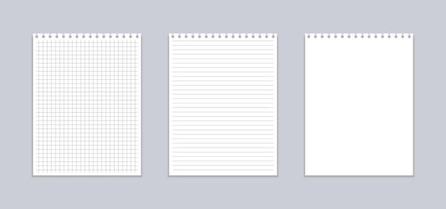 Realistisch notitieboekje met vierkante en lijnbladen.