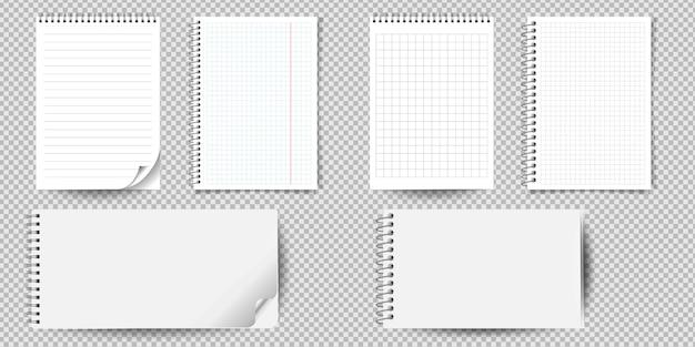 Realistisch notitieboekje of blocnote met geïsoleerd bindmiddel. memoblokje of dagboek met gevoerde en vierkante papieren paginasjablonen.