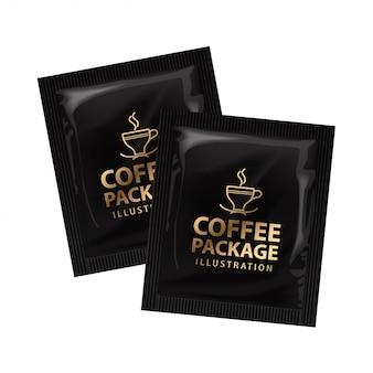 Realistisch offee of cacaosachet. sjabloon set. product verpakking op witte achtergrond