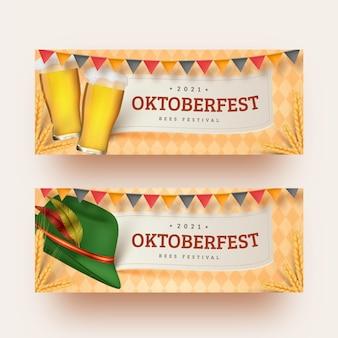 Realistisch oktoberfest bannersmalplaatje