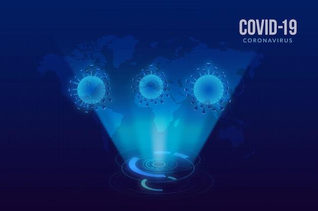 Realistisch ontwerp coronavirus hologram
