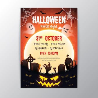 Realistisch ontwerp halloween party poster