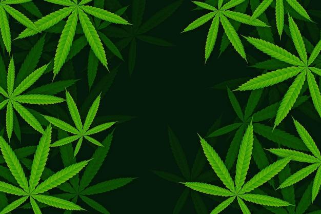 Realistisch ontwerp van de achtergrond van het cannabisblad
