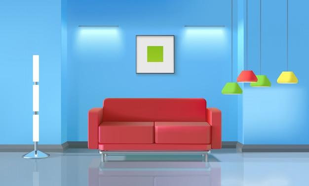 Realistisch ontwerp van de woonkamer