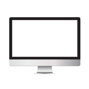 Realistisch ontwerp van een desktopcomputer met een leeg leeg scherm. mock up template monitor voor landingen en presentaties.