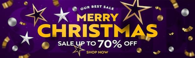 Realistisch ontwerp voor kerstuitverkoop voor reclame met korting
