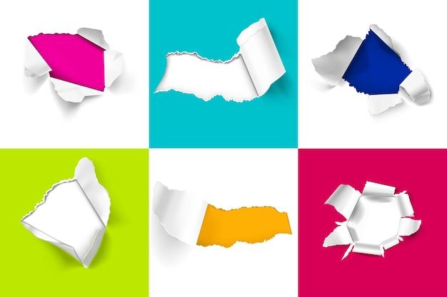 Realistisch ontwerpconcept met kleurrijke gescheurde geïsoleerde vellen papier