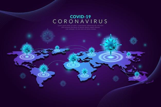 Realistisch ontwerpcoronavirus met kaart