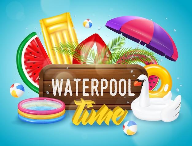 Realistisch opblaasbaar zwembad met apparatuur horizontale poster op blauw met waterdruppels