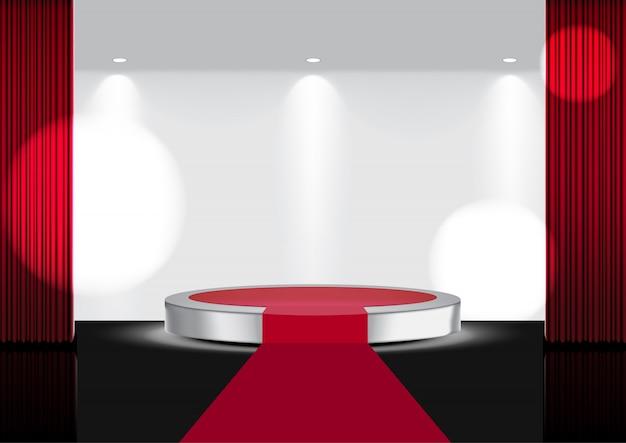 Realistisch open rood gordijn op metallic carpet stage of cinema