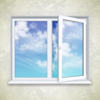 Realistisch open vierkant venster op de achtergrond van behang en hemel