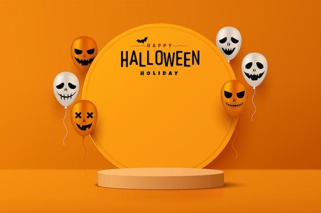 Realistisch oranje 3d cilinder voetstuk podium met cirkel achtergrond en halloween ballon spookachtig gezicht