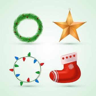 Realistisch pakket met kerstelementen