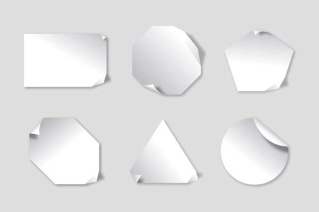 Realistisch papieren stickerpakket